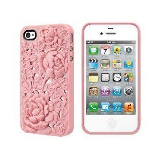 Greentree Pink 3D Sculpture Design Blossom Rose Flower Hard Plastic Cover Case for iPhone 4 4S 4G Cell Phones & Accessories