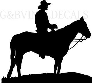 COW BOY WESTERN HORSE RIDER RANGE SILHOUETTE WALL LETTERING VINYL DECAL LARGE SIZE   Wall Decor Stickers