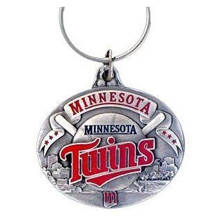 Pewter MLB Team Design Key Ring   Minnesota Twins  Sports Related Key Chains  Clothing