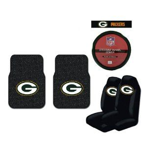 A Set of 2 Universal Fit NFL Rubber Floor Mats, 2 Front Universal Fit Bucket Style Seat Covers, and a Comfort Grip Steering Wheel Cover   Green Bay Packers Automotive