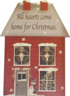 "Kurt Adler "" All Hearts Come Home For Christmas"" Glitter House Plaque Ornament   Decorative Hanging Ornaments"