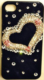 Lovers Heart Bling Crystal Black Case for iPhone 4S & 4 Verizon AT&T Sprint High Quality Crystals Cover by iPhashon Cell Phones & Accessories