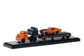 M2 Machines 1956 Ford C 500 COE with 1970 Ford Mustang Boss 429, Orange Diecast Vehicle, 164 Scale Toys & Games