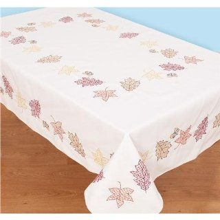 Jack Dempsey Stamped White Table Cloth Cross Stitch Kit, 50 by 70 Inch, Fall Leaves   Tablecloths