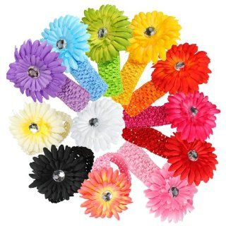 12 Pcs Assorted Color Colorful Daisy Flower Hair Accessories Headband Headbands Head Band for Girls Baby Newborn Child Kids Toddler Infant  Fashion Headbands  Beauty