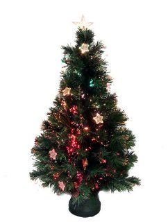 3' Pre Lit Color Changing Lighted Fiber Optic Artificial Christmas Tree w/ Stars
