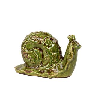 Urban Trends Collection Small Green Ceramic Snail Urban Trends Collection Accent Pieces