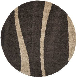 Shop Safavieh Florida Shag Collection SG451 2813 Dark Brown and Beige Shag Round Area Rug, 6 Feet 7 Inch Round at the  Home D�cor Store