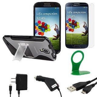 BIRUGEAR 6 Items Essential Accessories Bundle Kit for Samsung Galaxy S4 S IV i9500 Black/ Clear TPU Kick Stand Case, Screen Protector, Charger, Cable, Wall Charger Holder (AT&T, T Mobile, Sprint, Verizon) Cell Phones & Accessories