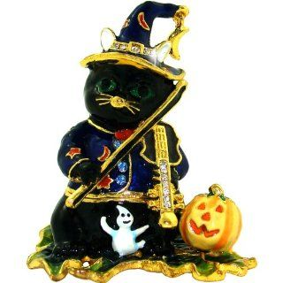 "Objet D'Art Release #444 ""Midnight"" Halloween Black Cat Playing Violin Handmade Jeweled Metal & Enamel Trinket Box   Action Figure Accessories"