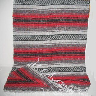 Shop Large Red/black Mexican Falsa Blanket Yoga Mat at the  Home D�cor Store