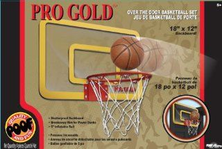 POOF Slinky 455BL POOF Pro Gold Over The Door 18 Inch Breakaway Rim Basketball Hoop Set with Clear Shatterproof Backboard and 5 Inch Inflatable Ball Toys & Games