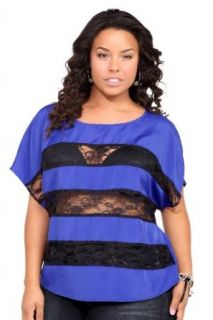 Violet Blue And Black Lace Inset Stripes Top