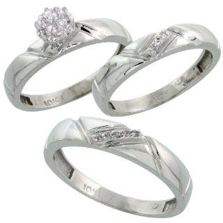 10k White Gold Diamond Trio Engagement Wedding Ring Set for Him and Her 3 piece 4.5 mm & 4 mm wide 0.10 cttw Brilliant Cut, ladies sizes 5   10, mens sizes 8   14 Jewelry