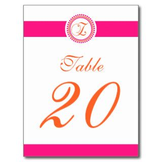 Z Dot Circle Monogram Table Number (Pink/Orange) Post Card