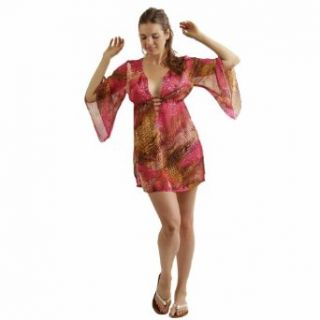 Pink & Yellow Snake Skin Print Plus Size Sheer Beach Cover Up Tunic Dress