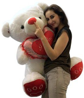 Giant Plump Soft Teddy Bear 3 Feet Tall Measured While Sitting White Color with Bigfoot Paws and Big Plush I LOVE YOU Heart Pillow Giant Stuffed Teddybear Animal Toys & Games
