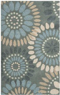 Safavieh Jardin Collection JAR455A Handmade Wool Area Rug, 2 Feet by 3 Feet, Grey and Blue   Accent Rugs