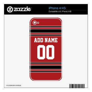 Team Jersey with Custom Name and Number Decal For iPhone 4