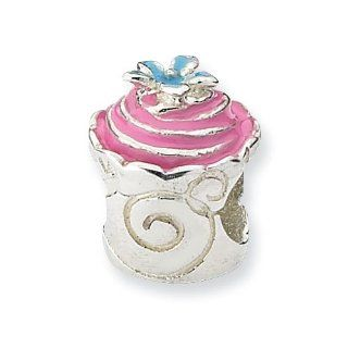 Sterling Silver Pink Enameled Cupcake Charm Bead Fits Pandora Chamilia Biagi Bracelet Jewelry