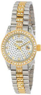 Akribos XXIV Women's AK487TTG Diamond Quartz Gold Two Tone Stainless Steel Bracelet Watch Watches