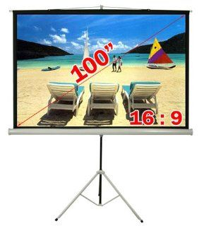 "Antra 169 Compact Portable Tripod Projector Projection Screen Matte White (100"" Diagonal /87"" X 49"" Viewing Size)"