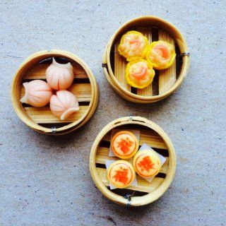Chinese Food Miniature   Dim Sum Chinese Moon Cake in Bamboo Tray  From Thailand  Other Products