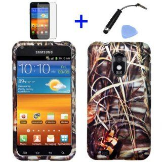 4 items Combo Mini Stylus Pen + LCD Screen Protector Film + Case Opener + Wild Outdoor Grass Pond Lake Camouflage Design Rubberized Snap on Hard Shell Cover Faceplate Skin Phone Case for Sprint Samsung Epic Touch Galaxy SII D710, US Cellular/ Boost Mobile