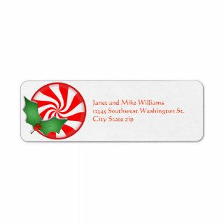 Round Peppermint Candy  Holly Sprig Personalized Custom Return Address Label