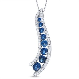 Sapphire Journey Pendant in 14K White Gold with Diamond Accents