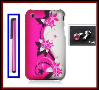 For iPhone 3G 3GS Phone Case Cover Faceplates Rubberized Hot Pink Silver Vines Flowers Front/Back + Pink Stylus Touch Screen Pen + One FREE Pink 3.5mm Bling Headset Dust Plug Cell Phones & Accessories