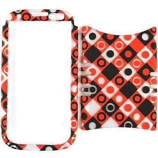 Cell Armor I747 RSNAP TE496 S Rocker Snap On Case for Samsung Galaxy S3 I747   Retail Packaging   Trans. Black/Red/White Dots in Squares Cell Phones & Accessories