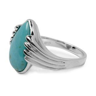 Sterling Silver Kingman Turquoise Blue Green Pear Shape Ring Jewelry