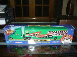 2000 Edition Bobby Labonte #18 Interstate Batteries 1/64 Scale Transporter Hauler Tractor Trailer Semi Rig Truck Winners Circle Hasbro 1/64 Scale Metal Cab, Plastic Trailer Toys & Games