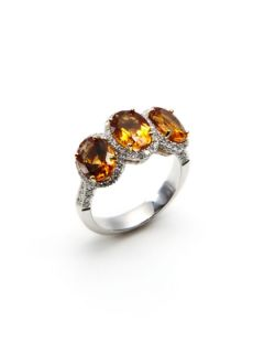 Triple Oval Citrine & Pave Diamond Ring by Vendoro