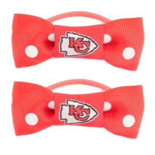 NFL Kansas City Chiefs Bow Pigtail Holder  Sports Fan Headbands  Clothing