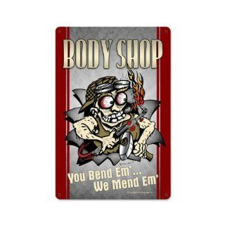 Body Shop Vintage Metal Sign Funny Shop Garage Auto Car 12 X 18 Steel Not Tin   Decorative Signs