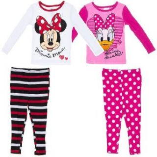 "Disney ""Minnie Mouse & Daisy Duck"" Pink/White 4 pc. Toddler Pajama Set 2T Clothing"