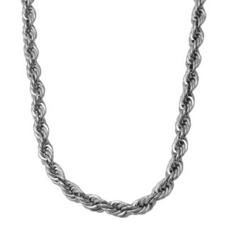 Mens Stainless Steel 4.0mm Rope Chain Necklace   24   Zales