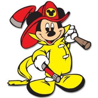 "Mickey Mouse Fireman car bumper sticker decal 4"" x 4"" Automotive"