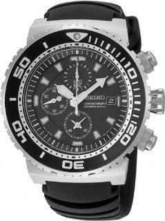 Seiko #SNDA13P2 Men's Black Dial Chronograph Diver Watch with Rubber Strap Watches