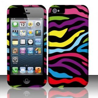 Importer520 For Apple iPhone 5 (AT&T/Verizon/Sprint/Cricket)   Rubberized Design Hard Cover Case   Rainbow Zebra Cell Phones & Accessories