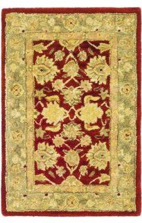 Safavieh AN522A 9 Feet 6 Inch by 13 Feet 6 Inch Anatolia Collection Handmade Hand Spun Wool Area Rug, Red and Ivory