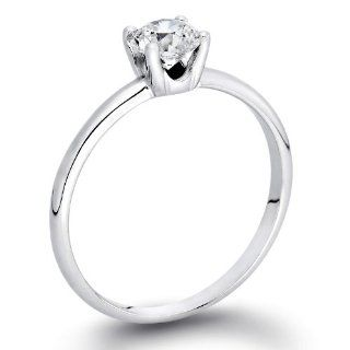 0.45 ct. Round Diamond Solitaire Engagement Ring in 14k White Gold Natural Diamond Jewelry