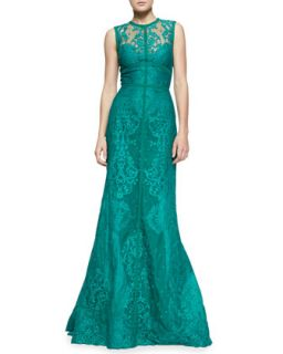 Womens Sleeveless Paisley Lace Gown   Elie Saab