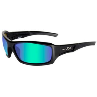 Wiley X Echo Sunglasses   Polarized Emerald Mirror Lens/Gloss Black Frame 737800