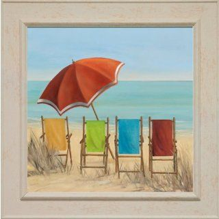 Decor Colorful Beach Chairs and Beach Umbrella Off White Framed Art   Decorative Tiles