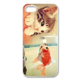 Custom Cat Fall in Love with Fish Personalized Cover Case for iPhone 5 5S LS 536 Cell Phones & Accessories