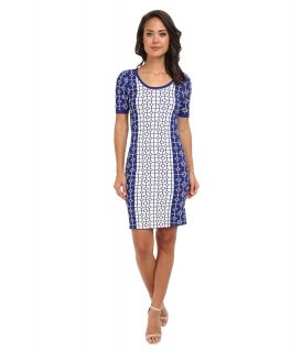 ROMEO & JULIET COUTURE S/S Printed Engineered Knit Dress Womens Dress (Blue)