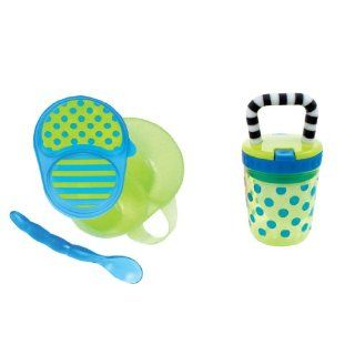 Sassy First Solids Feeding Set, Blue/Green  Baby Dinnerware Sets  Baby